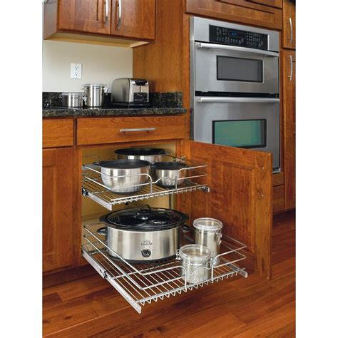kitchen cabinet organizers home depot rev a shelf 19 in h x 20 75 in w x 22 in d base cabinet pull out chrome 2 tier wire basket