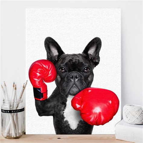 nordic style boxing dog canvas art print painting poster