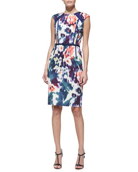 Printed Sleeve Sheath Dress david meister printed belted cap sleeve sheath dress