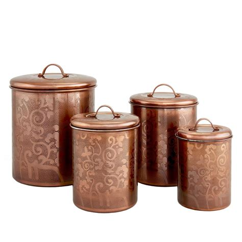 4 avignon antique copper etched canister