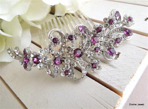 Vintage Purple Wedding Hair Accessories by Purple Swarovski And Pearl Wedding Comb Wedding