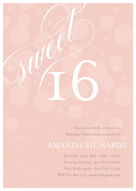 8 best images of sweet 16 invitation templates printable