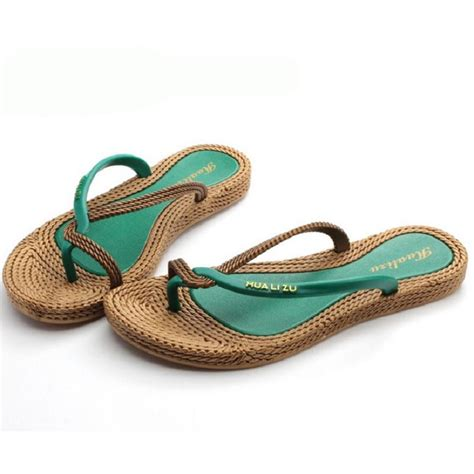 grass sandals womens shiny bohemia flat flip flops thongs slippers