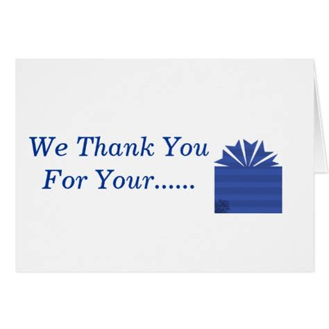 we thank you for your gift message inside card zazzle