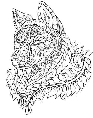 adult coloring pages dog animal patterns abstract