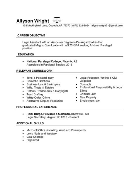 Paralegal Resume Sle by Paralegal Objective For Resume 28 Images Sle Resume
