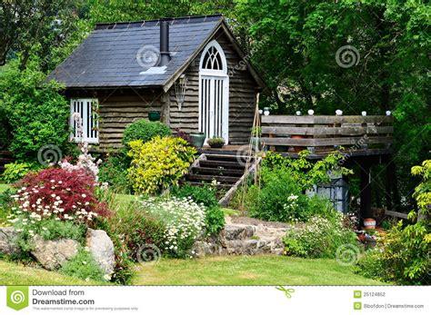 idyllic timber garden hideaway stock photo image