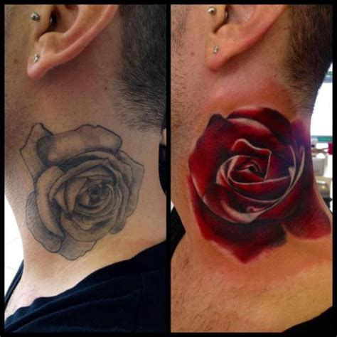 tatuaje realista flor cuello rosa cover up por immortal ink