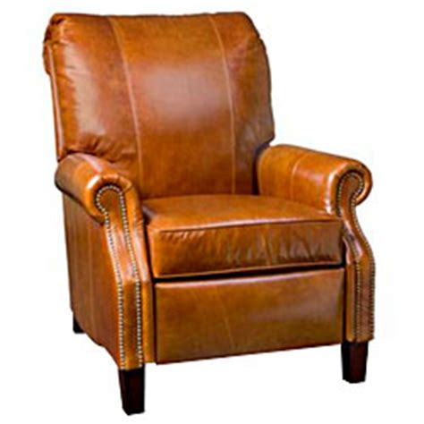 Traditional Leather Recliners by Traditional Leather Rolled Back Recliner W Nail Trim
