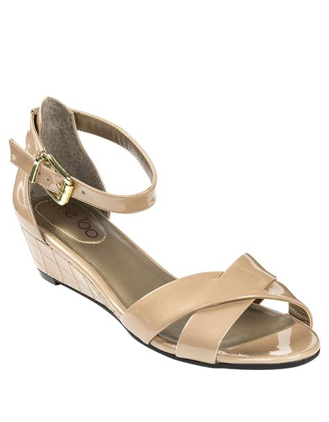 me sandals me shae patent leather wedge sandals in lyst