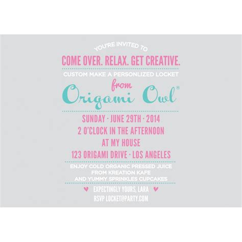 Origami Owl Printable Invitation | origami owl party
