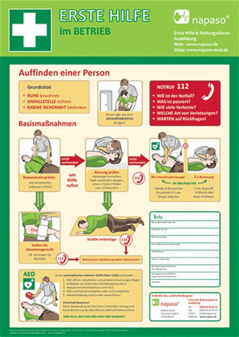 Zoologischer Garten Erste Hilfe Kurs by Plakat A2 Erste Hilfe Im Betrieb Napaso Med