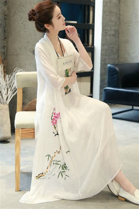 White Maxi Gamis summer dress maxi dress korea dress chiffon korea