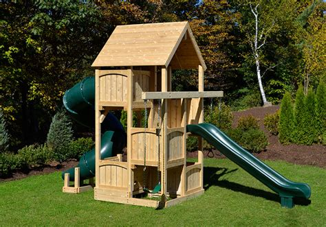 Small Backyard Swing Set by Cedar Swing Sets Canterbury Space Saver Deluxe