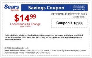 Sears Automotive Discount Coupons Sears Coupons 15 Change At Sears Auto