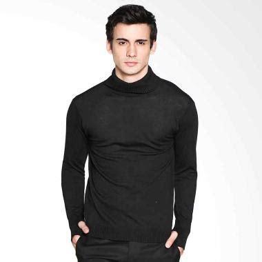 Jual Vm Sweater Rajut Polos Krah Tinggi Panjang Hitam Knitt jual vm polos rajutan krah tinggi sweater hitam harga kualitas terjamin blibli