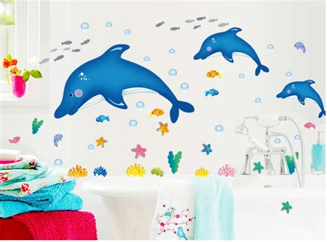 Stiker Dapur Dolphin Ay3024 Berkualitas jual blue dolphin small ay7177 stiker dinding wall sticker 50x70 farisha shop