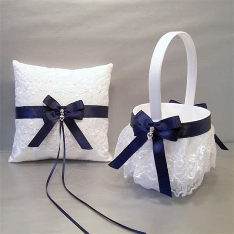 Navy Blue Ring Bearer Pillow - navy blue wedding bridal flower basket and ring