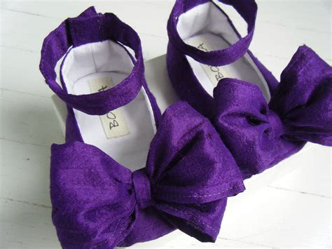 purple flower shoes flower shoes purple silk ankle baby by