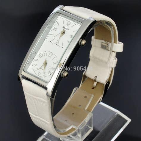 new womens white dual time analog quartz leather