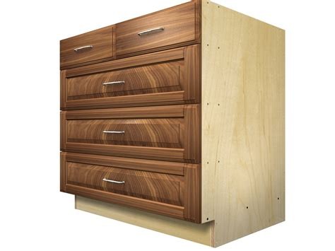Top Drawer Cabinetry 5 drawer base cabinet with split top drawer
