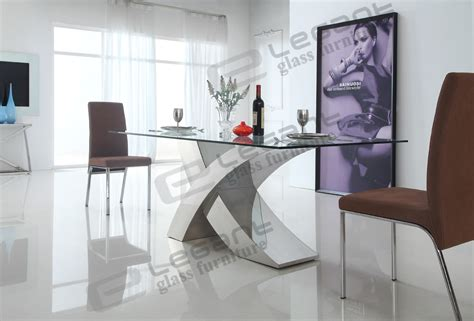 China 2014 Modern Glass Dining Table And Stainless Steel