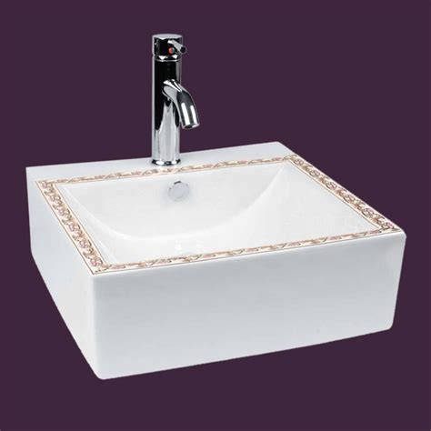 square vessel bathroom sinks bathroom vessel square sink white china painted faucet hole