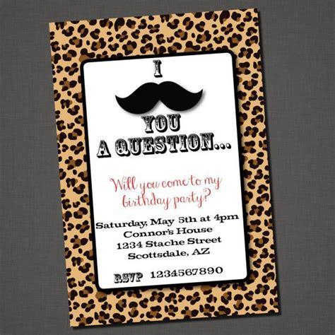 printable animal print birthday invitations mustache printable free invitations mustache you a