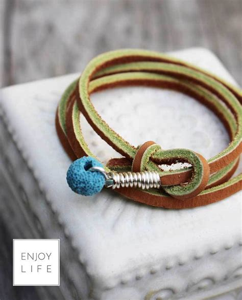 Mba Handmade Jewelry by Leather Diffuser Necklace Wrap Bracelet Skimbaco