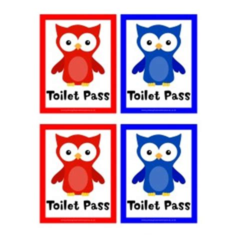 Owl toilet passes owl t pass primary classroom teaching resources