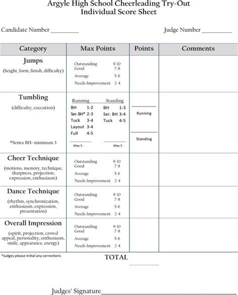 cheerleading tryout score sheet cheerleading tryout score sheet for free