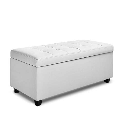 white ottoman stool large pu leather ottoman bed blanket chest storage box