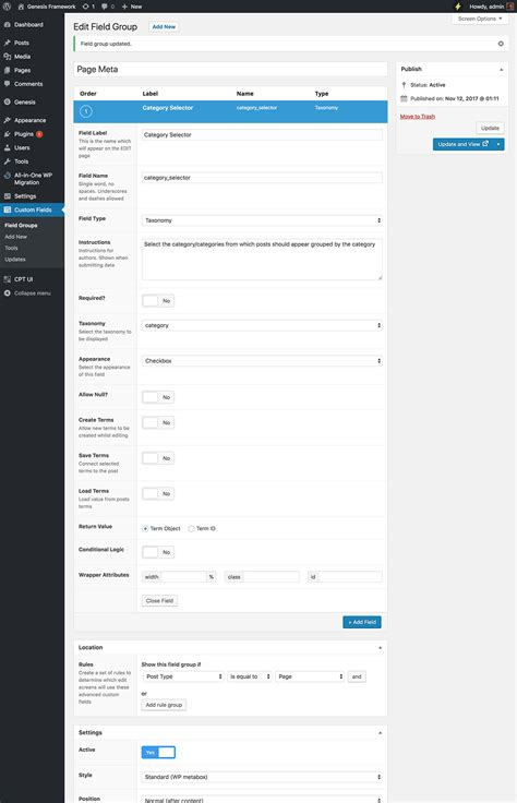 taxonomy page template custom page template to show posts grouped by selected