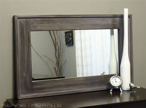 Gray Bathroom Mirror Streaky Weathered Rustic Wood Framed Mirror Farmhouse Barn Mantle Grey