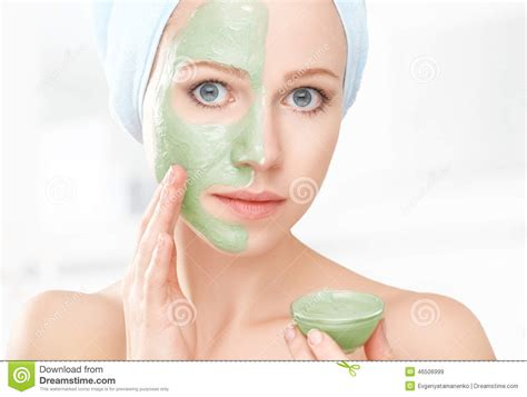 bathroom facial girl with facial mask vector illustration cartoondealer