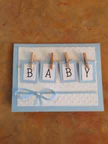handmade baby shower card tiny clothespins attach boxes with quot baby quot spelled out blue and