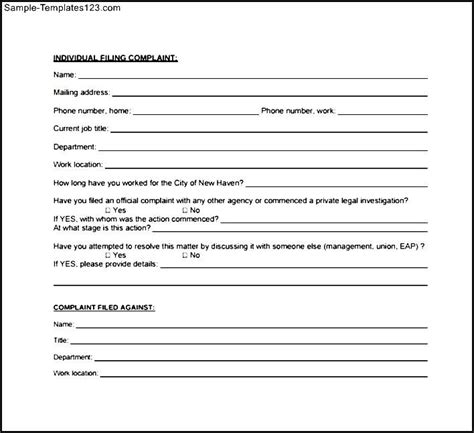 new hire template form new employee complaint form sle templates