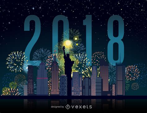 new year 2018 fireworks nyc 2018 new york city fireworks skyline vector
