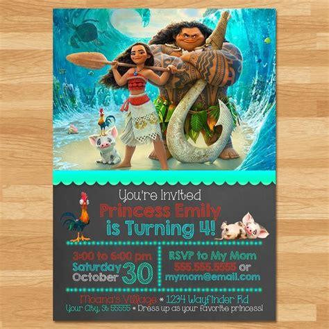 Moana Invitation Chalkboard Moana Invite Disney Princess Moana Invitation Template