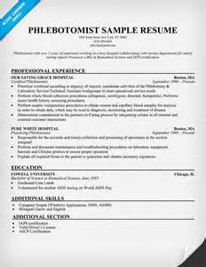 Phlebotomist Resume Objective by Pin Exle Resume Phlebotomy Technician On