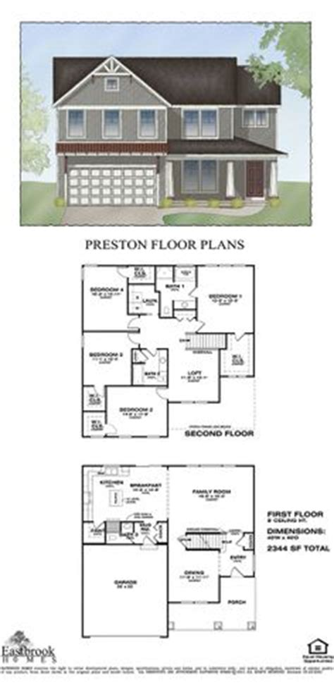 floor plan by eastbrook homes square footage 2344