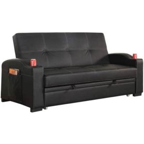 maple pu leather futon sofa bed with cup holders buy