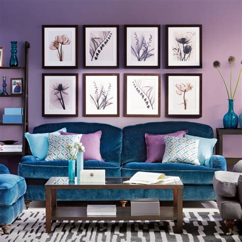 Peacock Color Living Room by Blue And Purple Living Room