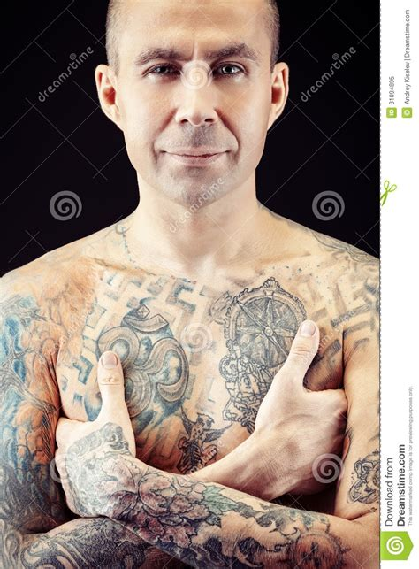 dude tattoo stock image image of emotion muscular