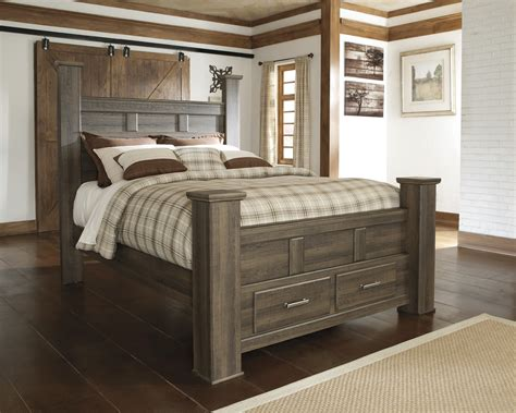 storage bed buy juararo queen poster storage bed by signature design from www mmfurniture com sku