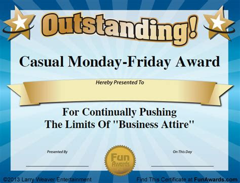 Templates For Office Awards | funny office award certificate templates