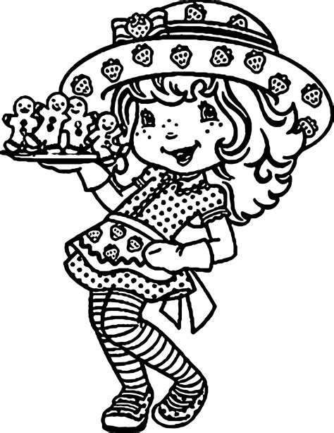 cookie food strawberry girl coloring page wecoloringpage