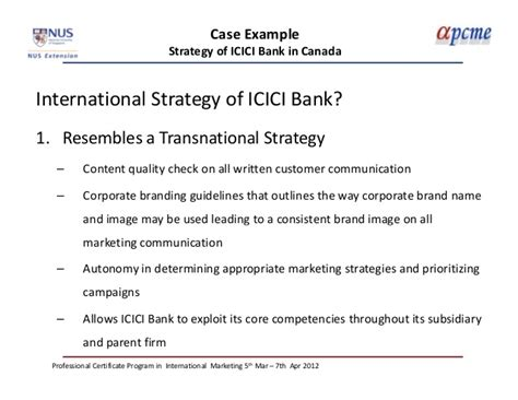 icici bank international branches international marketing session i march 2012