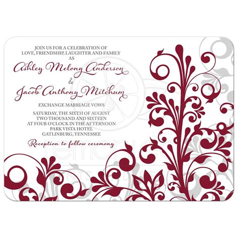 Wedding Invitations Burgundy by Burgundy Gray Abstract Floral Wedding Invitation