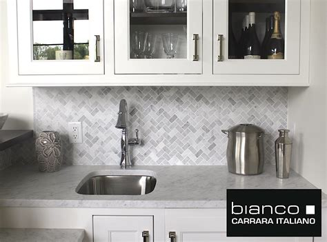 Home Depot Kitchen Backsplash Tiles by Carrara Carrera Bianco Honed 1x2 Herringbone Mosaic Tile